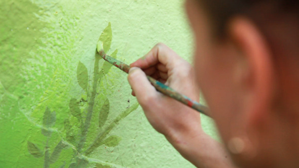 Woman Draws a Tree