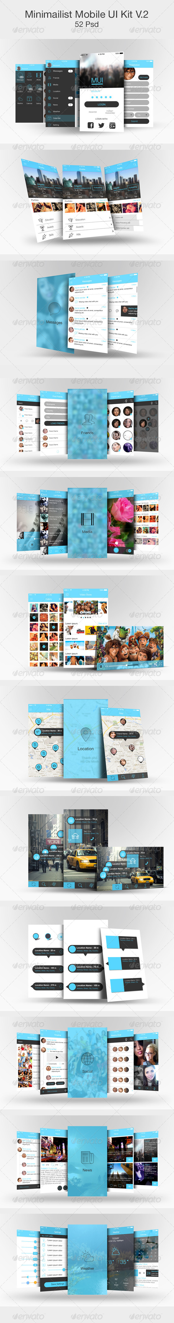 GraphicRiver Minimailist Mobile UI Kit V.2 5819008