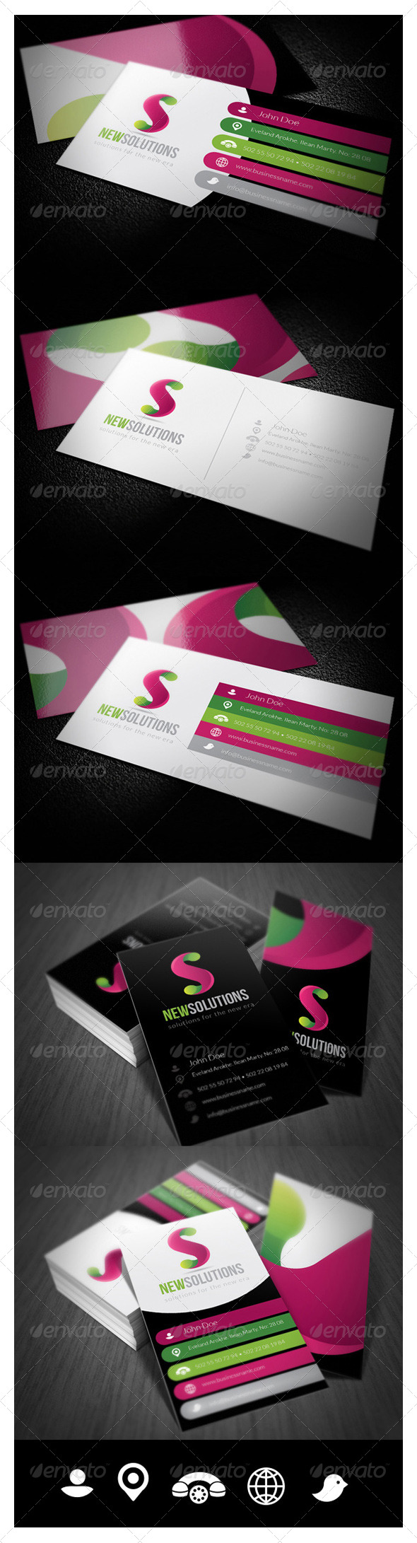 GraphicRiver 5 Flat Business Card 001 5819704