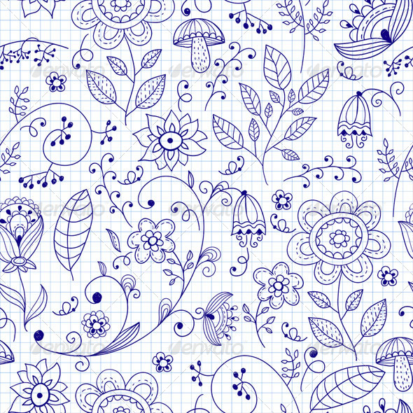 GraphicRiver Vector Seamless Floral Summer Doodle Pattern 5819881