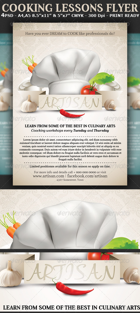 GraphicRiver Cooking Lessons Flyer Template 5820607