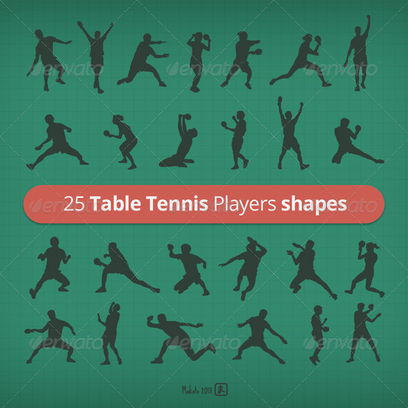 GraphicRiver 25 Table Tennis Players shapes 5778747