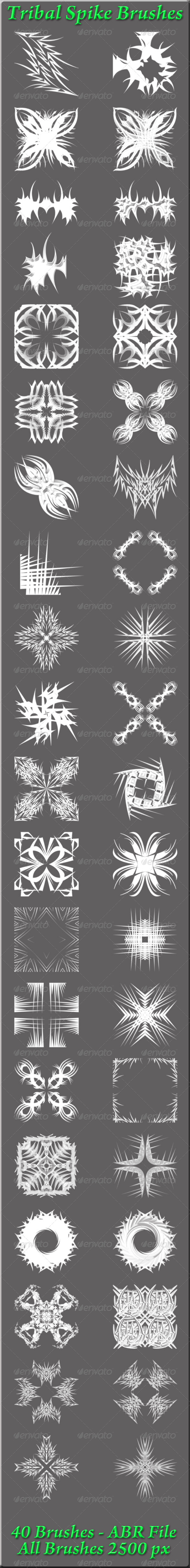 GraphicRiver Tribal Spike Brushes 5804315