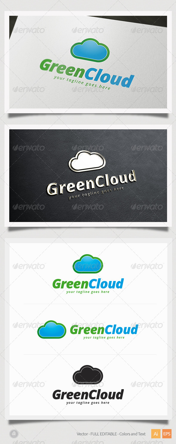 GraphicRiver Green Cloud Logo 5821448