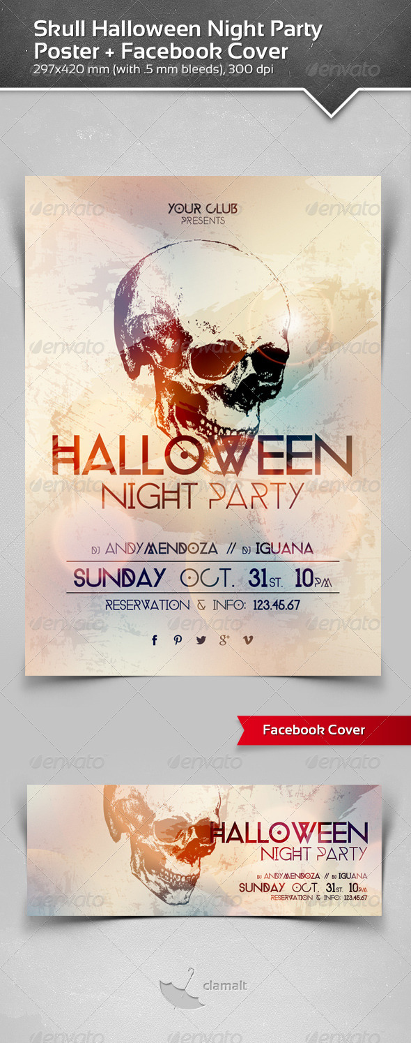 Skull Halloween Night Party Poster + Fb Cover - Events Flyers
