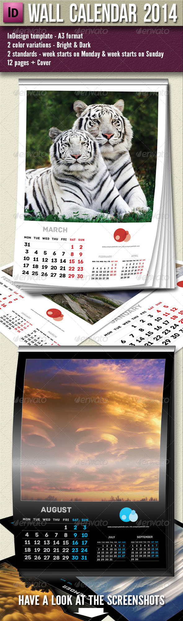 Wall Calendar 2014 - 13 pages A3