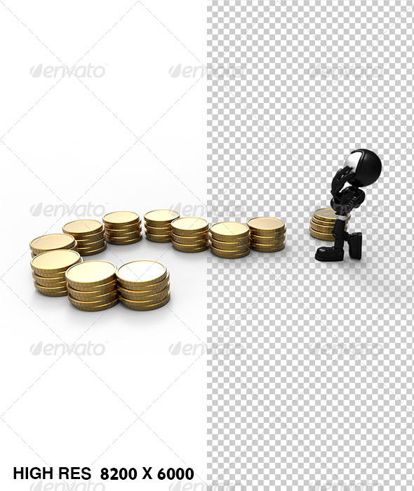 GraphicRiver 3D Astronaut Guy Thinking of Money Question Mark 5822308