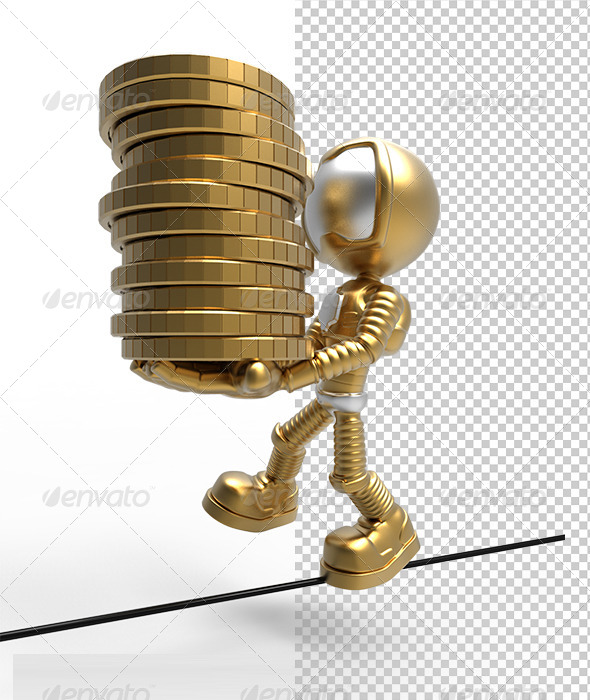 GraphicRiver 3D Gold Astronaut Holding Money Coins & Balance 5823001