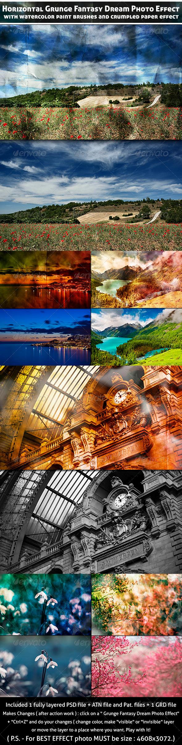 Horizontal Grunge Fantasy Dream Photo Effect - Actions Photoshop