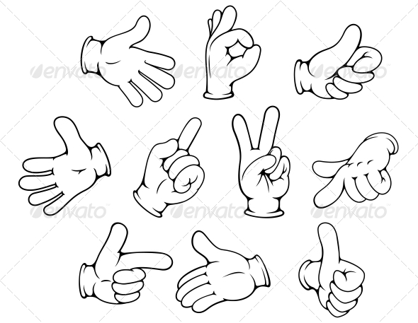 GraphicRiver Cartoon Hand Gestures Set 5823153