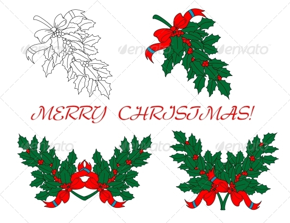 GraphicRiver Holly Branches for Christmas Design 5823286