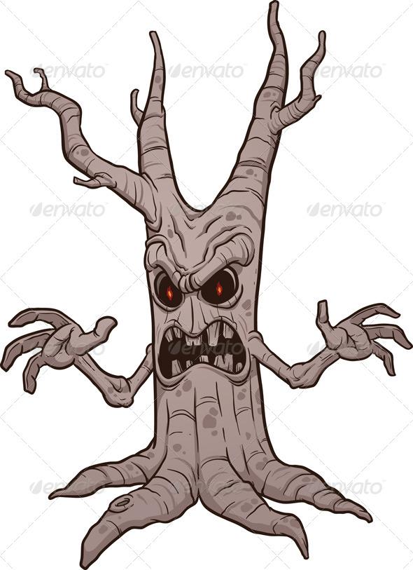 Spooky Halloween Tree ... Scary Tree Silhouette Clip Art