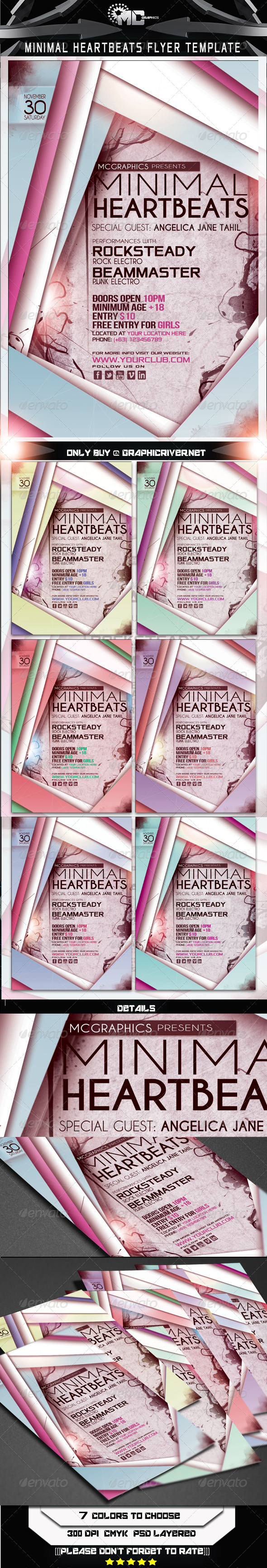 GraphicRiver Minimal Heartbeats Flyer Template 5823816