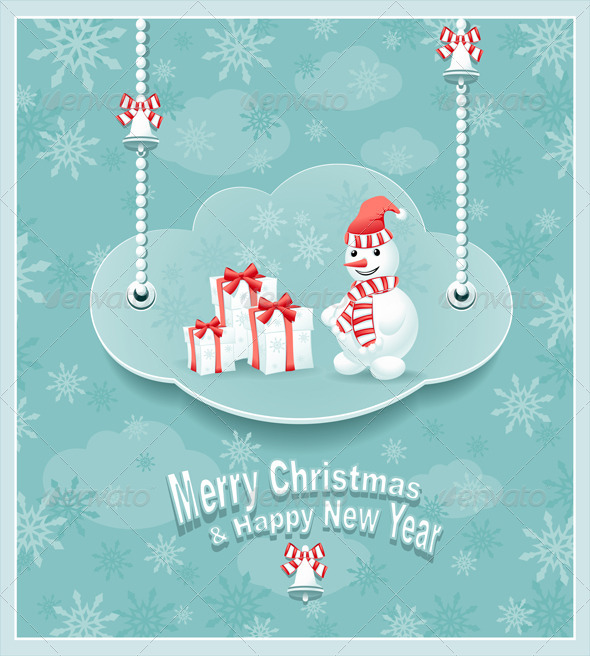 GraphicRiver Cloud with Snowman and Gifts 5823822