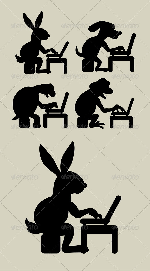 GraphicRiver Animal with Laptop Silhouettes 5824233