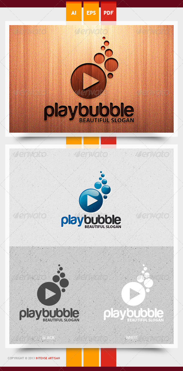 GraphicRiver Play Bubble Logo Template 5825142