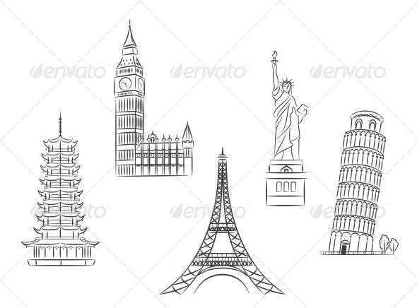GraphicRiver Travel Landmarks Set 5825157