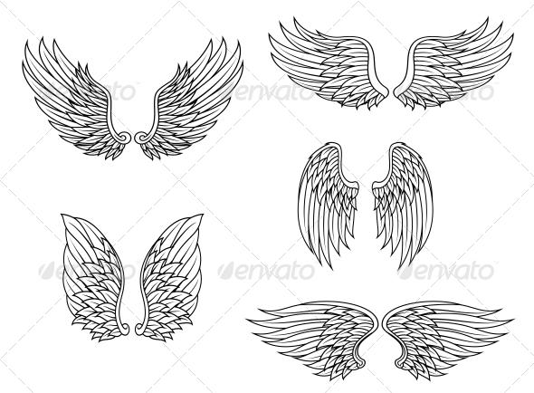 GraphicRiver Heraldic Wings Set 5825184