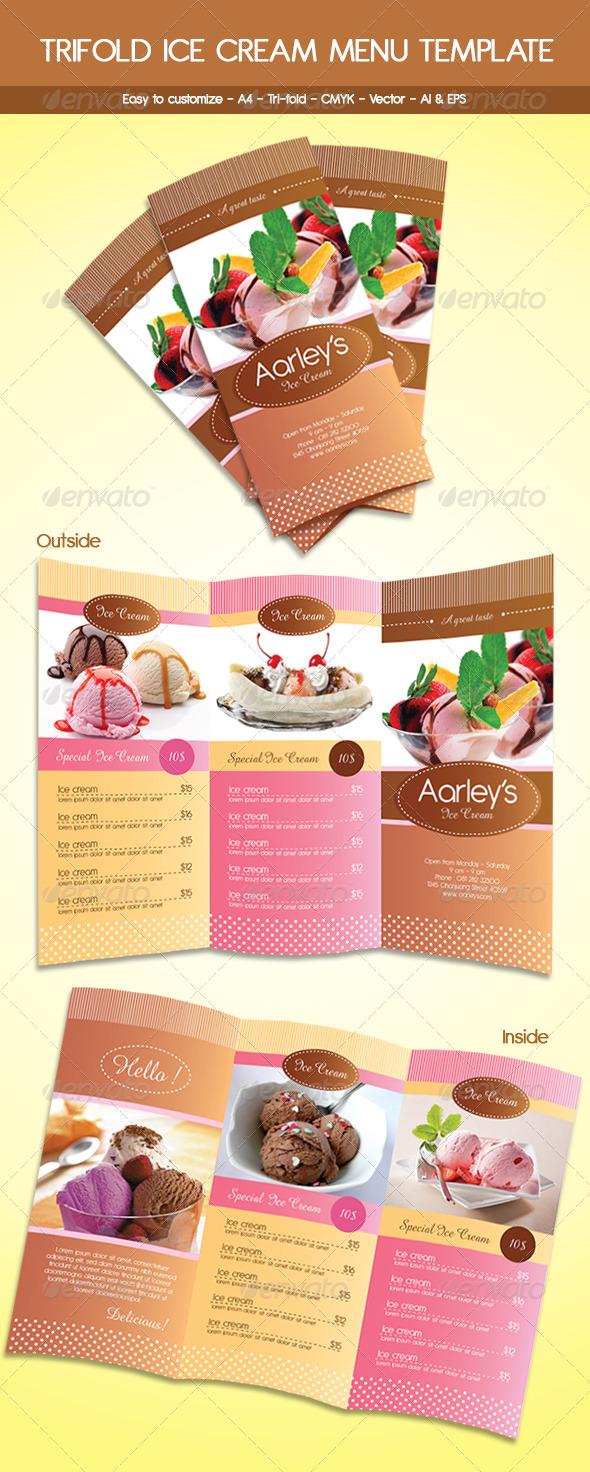 GraphicRiver Trifold Ice Cream Menu Template 5825270