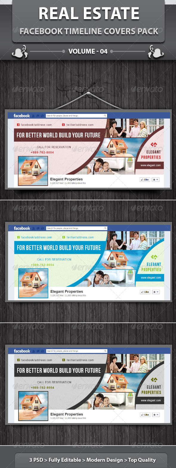GraphicRiver Real Estate Business FB Timeline Covers Pack v4 5825765