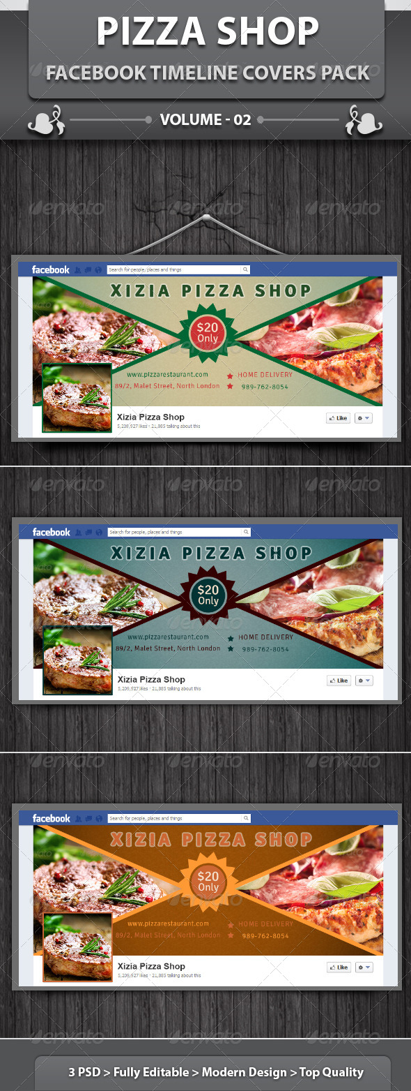 GraphicRiver Pizza Shop Facebook Timeline Covers Pack v2 5825848