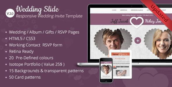 Wedding Slide Responsive Wedding Invite Template - Wedding Site Templates