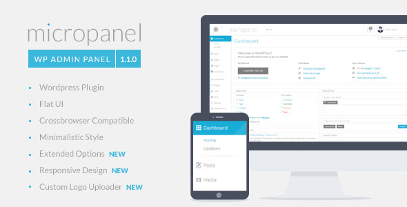 Description Micropanel is clean and unique WP Admin Template. With simple installation and user-friendly interface it distracts your from the boring default adm