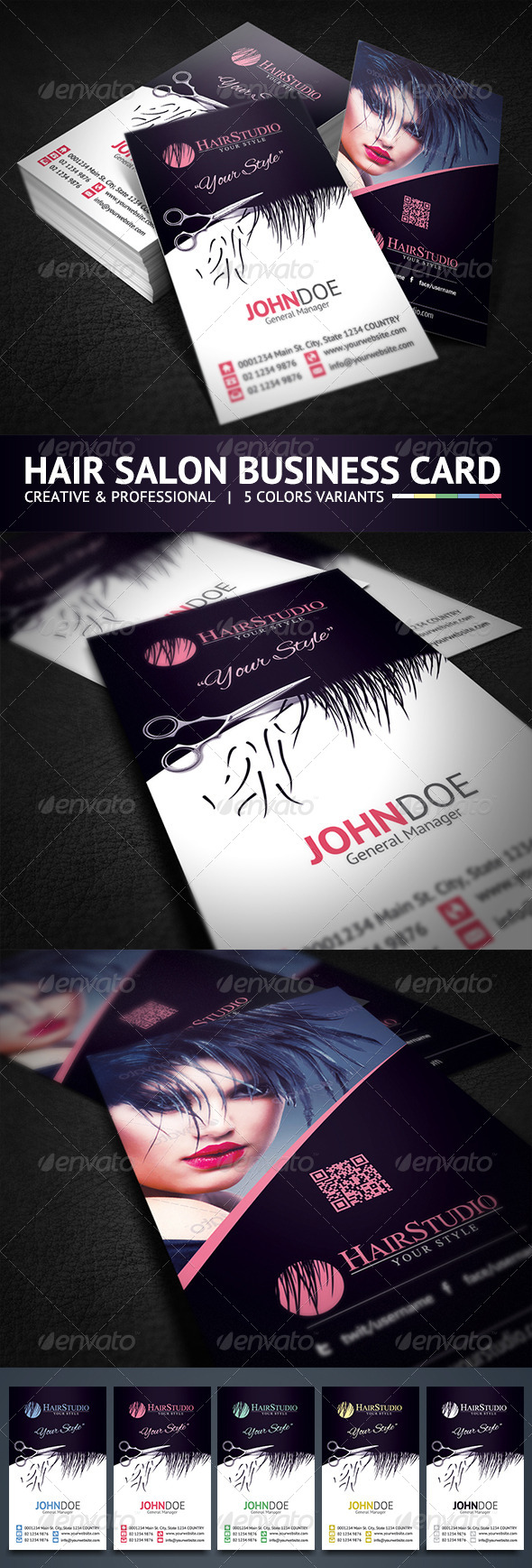 GraphicRiver Creative Hair Salon Business Card 5827480