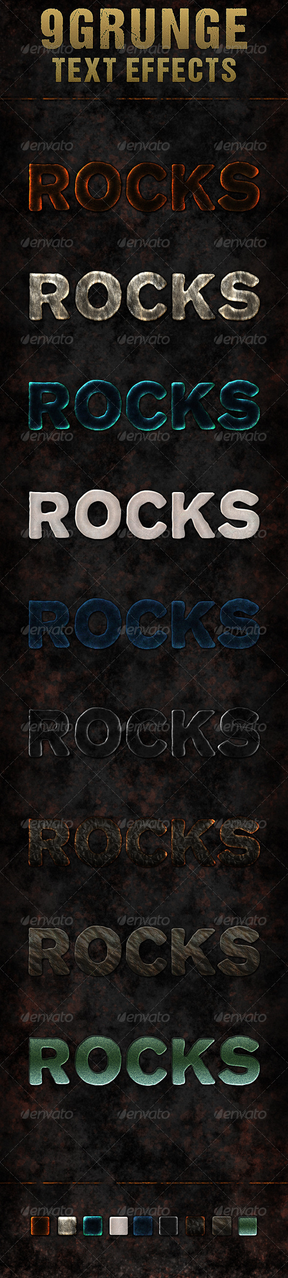 GraphicRiver Nine Grunge Rock Text Effects 5827771