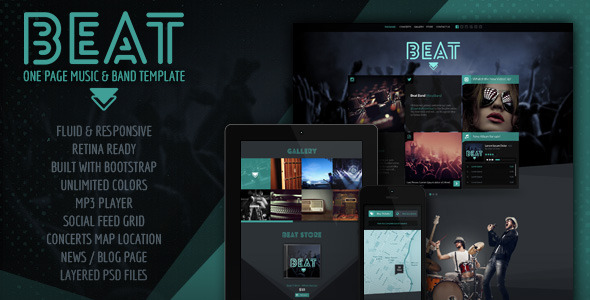 ThemeForest Beat One-Page HTML5 Music & Band Template 5825021
