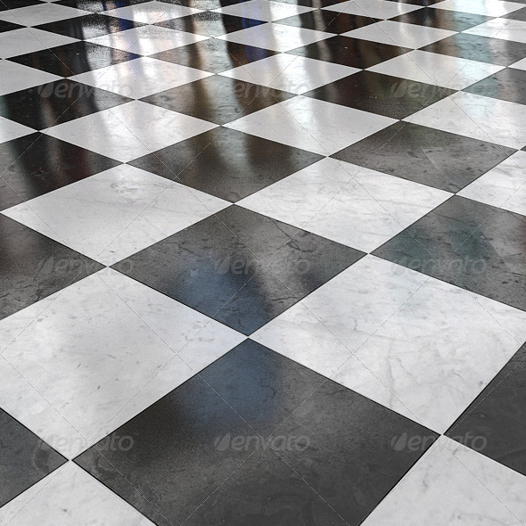 black_&_white_marble_stone_floor_02 - 3DOcean Item for Sale