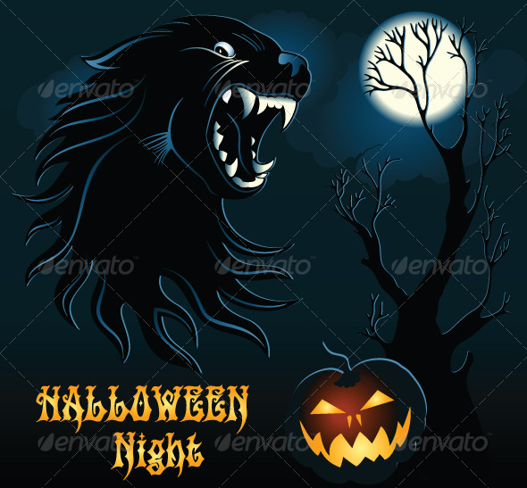 GraphicRiver Halloween Background with Wild Wolf 5829711