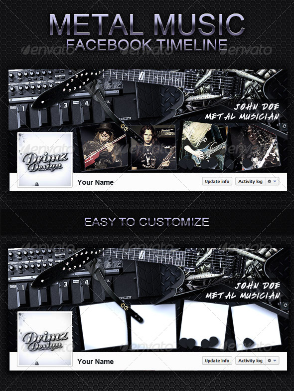 GraphicRiver Metal Music FB Timeline V2 5734329