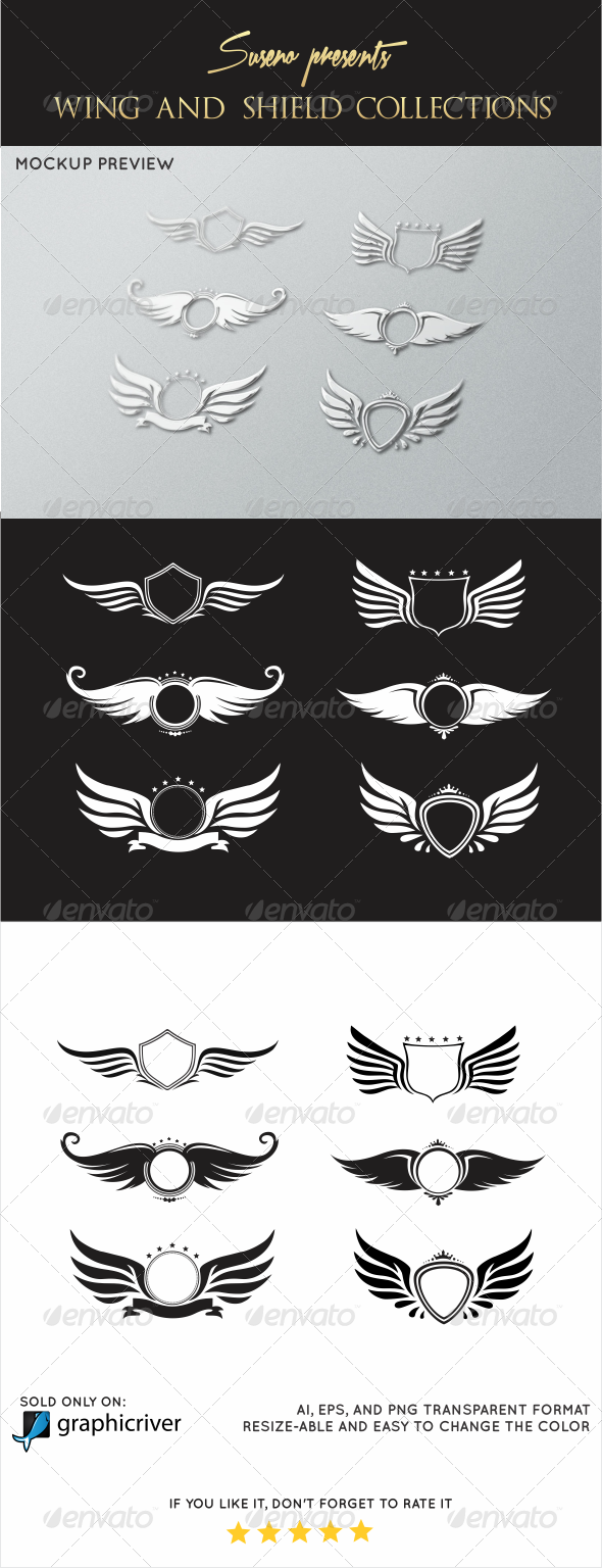 GraphicRiver Wings and Shield Collections 5824911