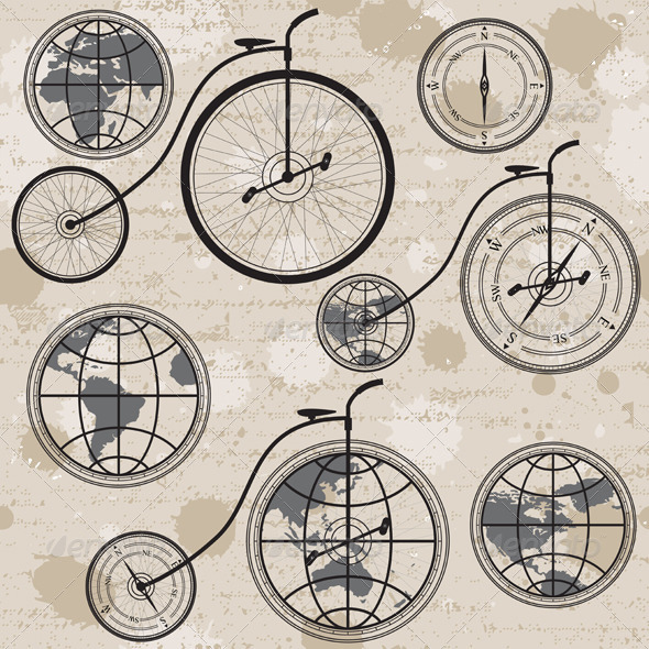 GraphicRiver Retro Bicycle Globe and Compass 5830792