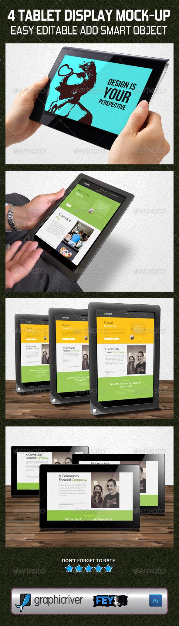 GraphicRiver 4 Tablet Display Mock-Up 5789065