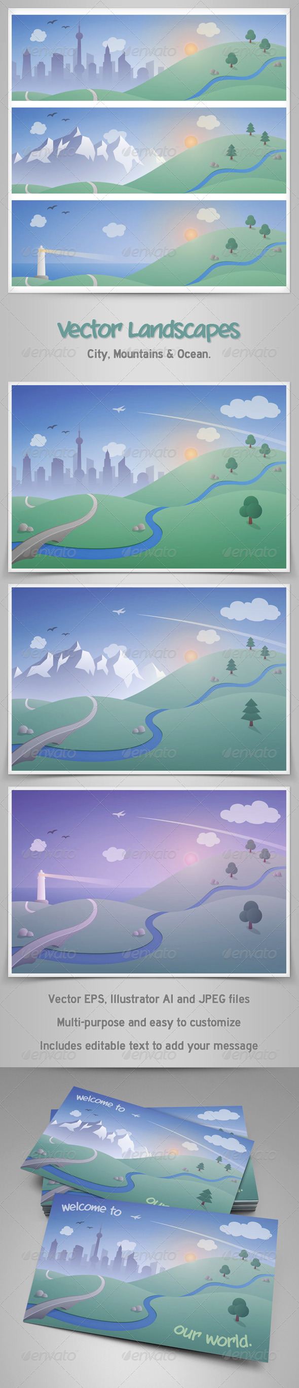GraphicRiver Vector Landscapes with City Mountains and Ocean 5831504