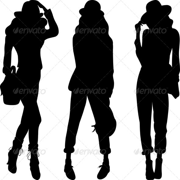 GraphicRiver Vector Silhouette of Fashion Girls Top Models 5833282