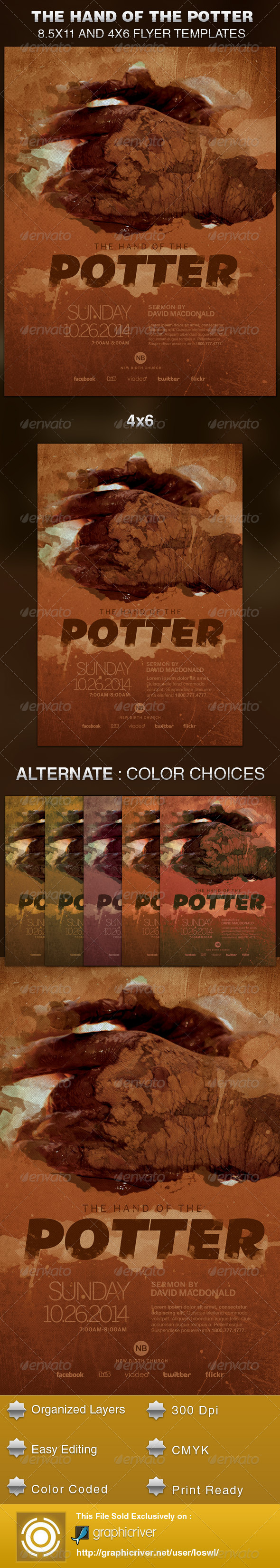 GraphicRiver Hand of The Potter Church Flyer Template 5833317
