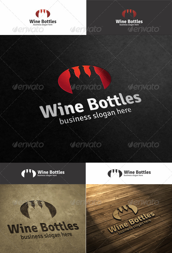 Wine Bottles Logo - Food Logo Templates