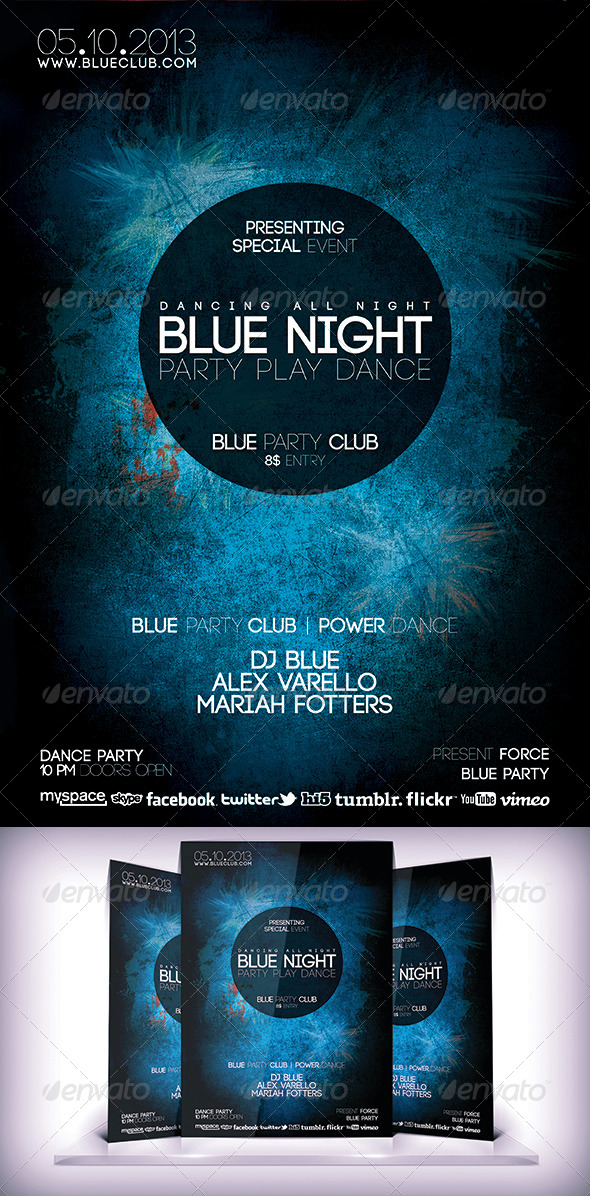 GraphicRiver Blue Night Flyer 5833645