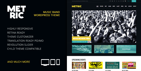Metric: Music Band Responsive WordPress Theme (Music and Bands) images