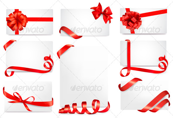 Set of Gift Cards with Red Gift Bows with Ribbons