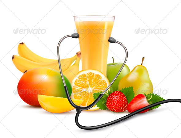 Group of Fruit and a Stethoscope Dieting Concept