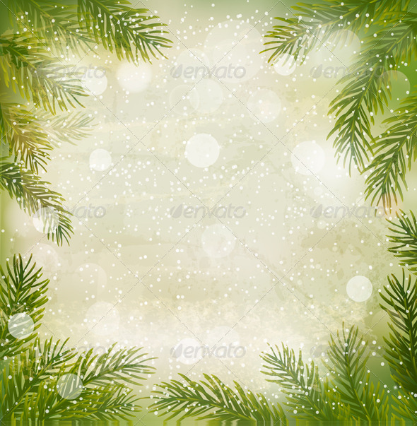 GraphicRiver Christmas Retro Background with Tree Branches 5833731