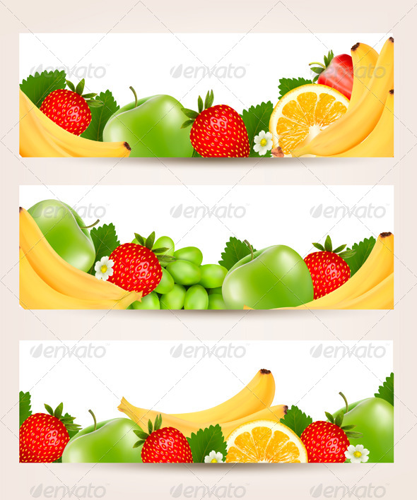 GraphicRiver Three Banners with Colorful Fresh Fruit 5833736