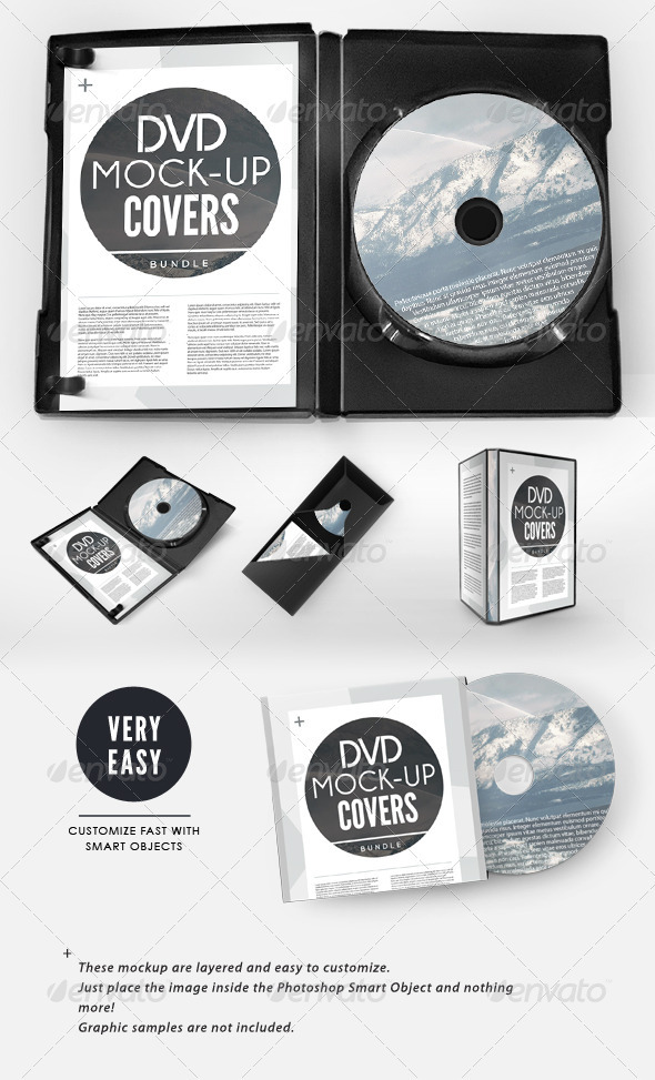 CD / DVD Presentation Cover Case Mock-up Bundle - Discs Packaging