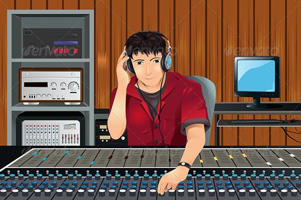 GraphicRiver Music Producer in Studio 5834115