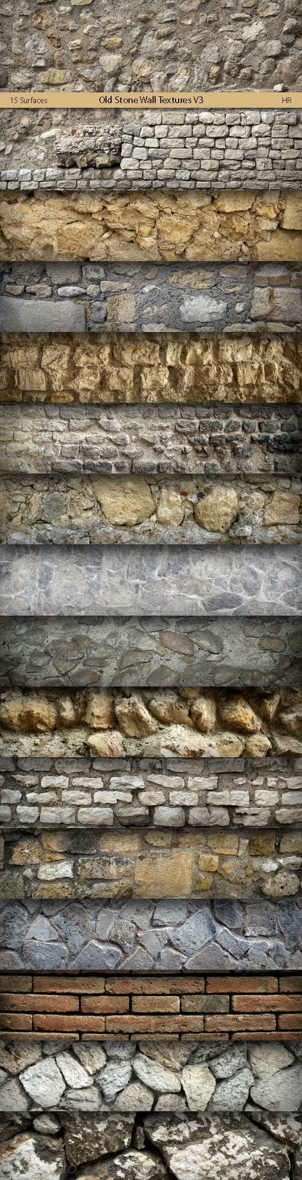 GraphicRiver Old Stone Wall Surfaces Texture Backgrounds V3 5834224
