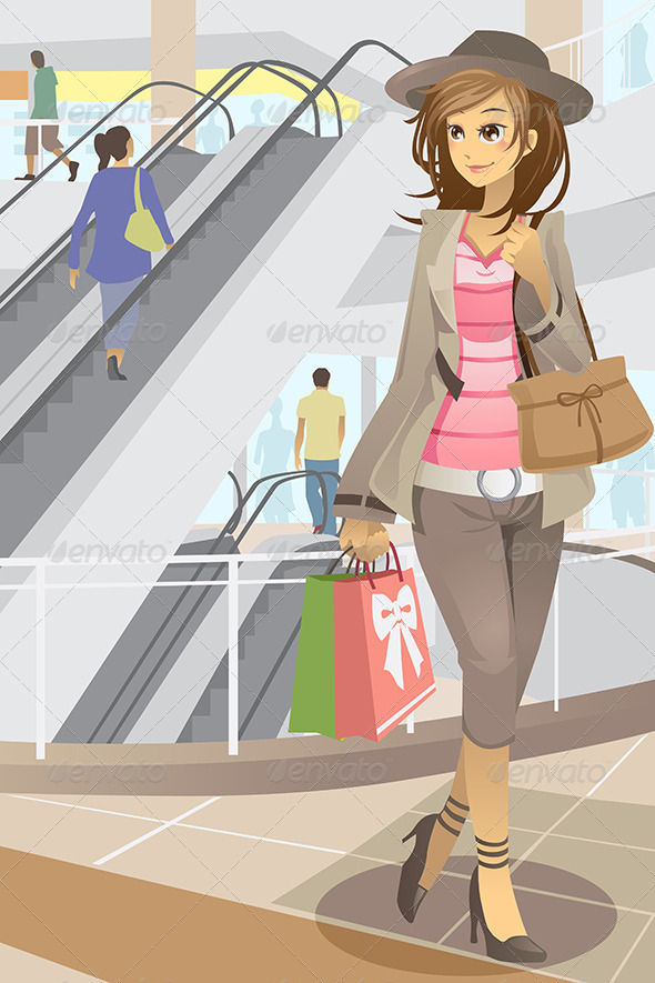 GraphicRiver Shopping Woman 5834311